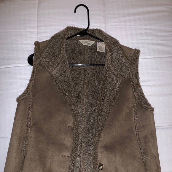 L.L. Bean Jackets & Blazers - L.L Bean,brown fur vest with suede top and buttons